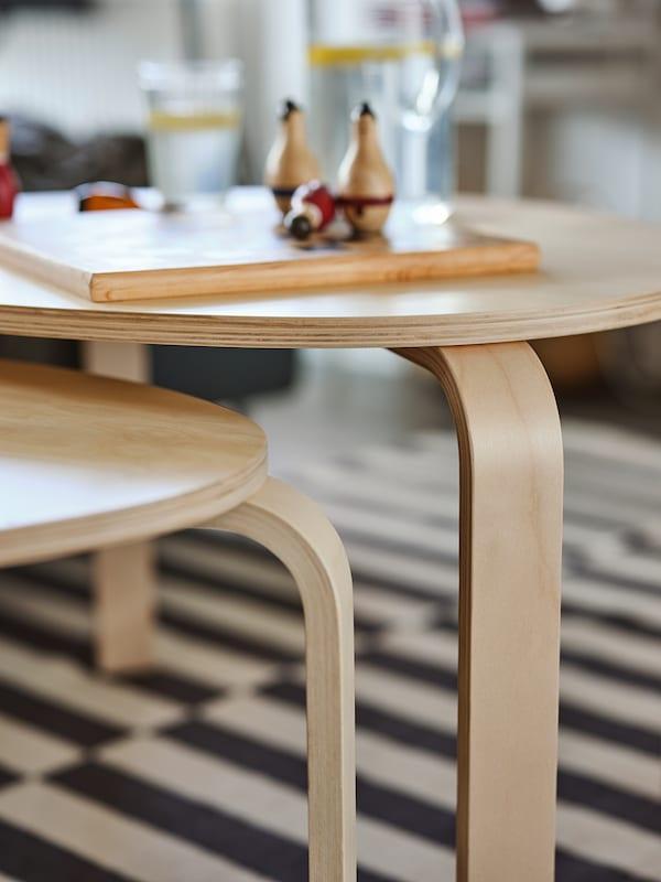SVALSTA Nesting tables, set of 2, birch veneer