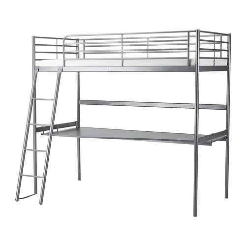 SVÄRTA Loft bed frame with desk top, silver color silver color Twin