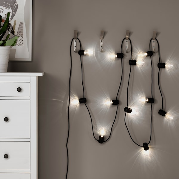SVARTRÅ LED string light with 12 lights, black/outdoor