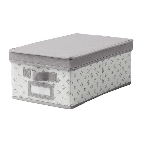 SVIRA Box with lid, gray, white flowers gray/white flowers 9 ½x15 ¼x6 ¼