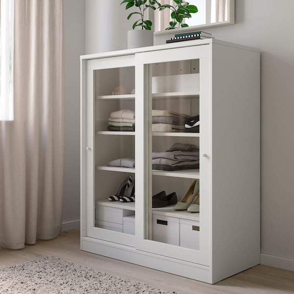 SYVDE Cabinet with glass doors, white - IKEA