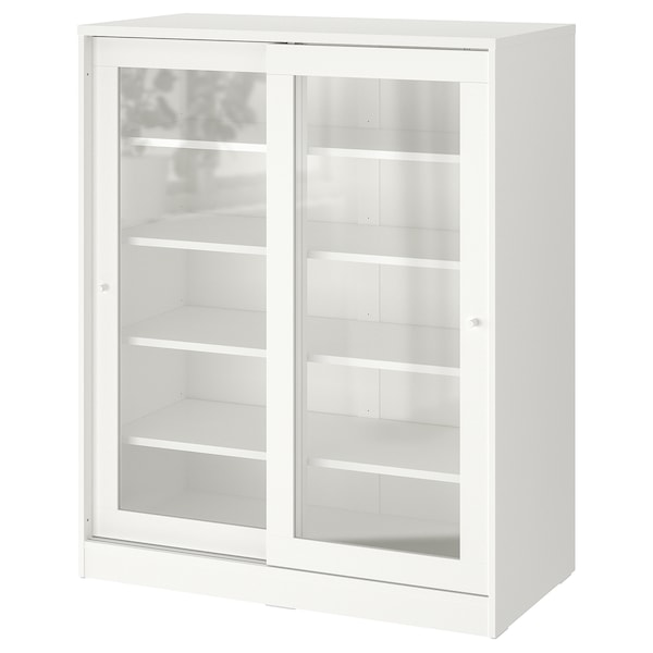 SYVDE Cabinet with glass doors, white, 39 1/2x48 1/2 ""