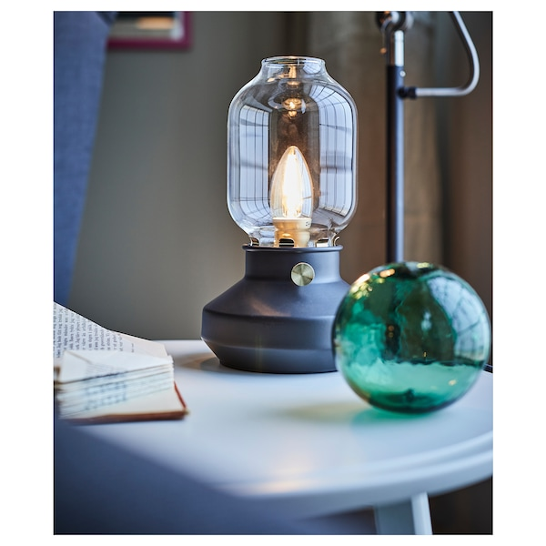 TÄRNABY Table lamp with LED bulb, anthracite