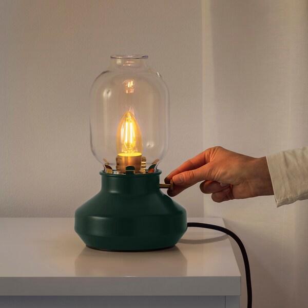 TÄRNABY Table lamp with LED bulb, dark green