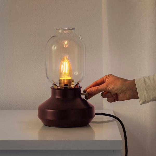 TÄRNABY Table lamp with LED bulb, dark red