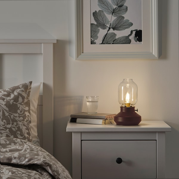 "TÄRNABY table lamp with LED bulb dark red 6 W 4 "" 10 "" 6 "" 5 ' 11 """