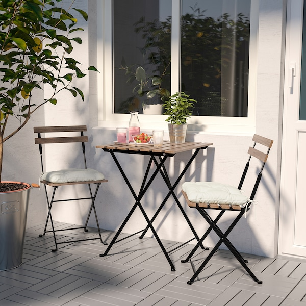 TÄRNÖ table+2 chairs, outdoor black/light brown stained/Kuddarna beige