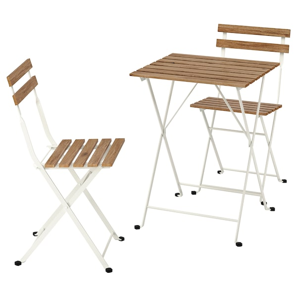 TÄRNÖ table+2 chairs, outdoor white/light brown stained