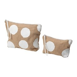 TÄNKVÄRD accessory bag, set of 2, natural, dotted