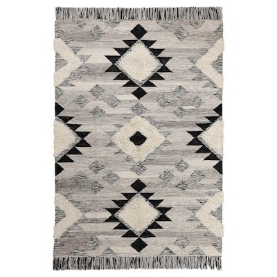 "TANNISBY Rug, flatwoven, handmade/gray black, 5 ' 3 ""x7 ' 7 """