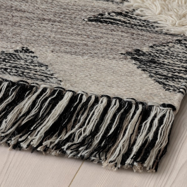 "TANNISBY Rug, flatwoven, handmade/gray black, 5 ' 3 ""x7 ' 7 """