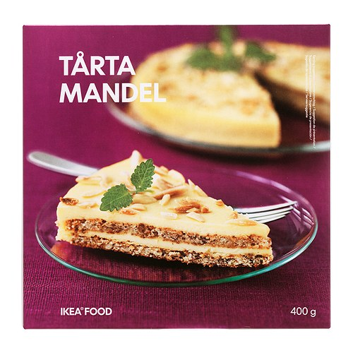 TÅRTA MANDEL Almond cake, frozen IKEA An almond based cake covered with butter cream and decorated with roasted almond sticks.
