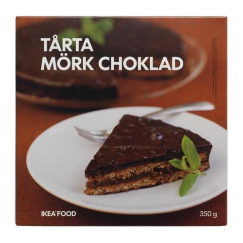 TÅRTA MÖRK CHOKLAD Almond cake/dark chocolate, frozen IKEA An almond based cake covered with dark chocolate cream, and topped with cocoa nibs.