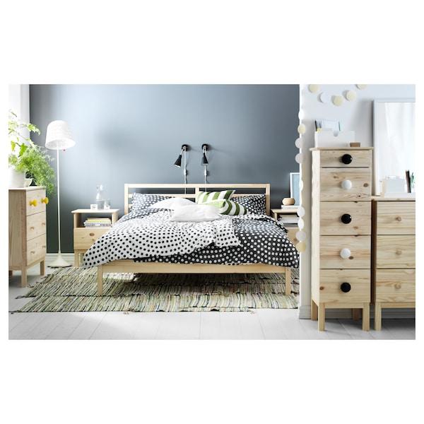 TARVA Bed frame, pine/Luröy, Queen