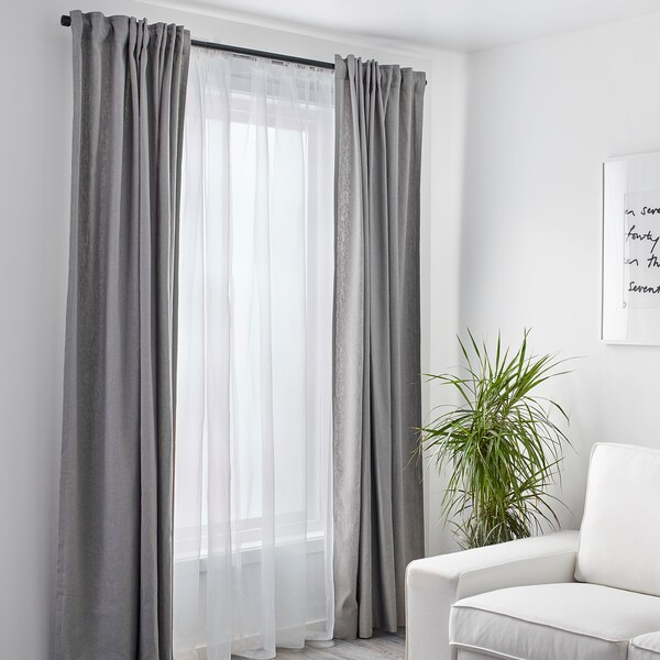 "TERESIA sheer curtains, 1 pair white 98 "" 57 "" 5 lb 1 oz 39.07 sq feet 2 pack"