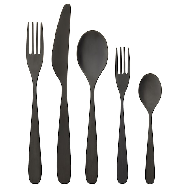 TILLAGD 20-piece flatware set, black