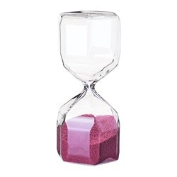 TILLSYN decorative hourglass, clear glass, pink
