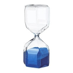 TILLSYN decorative hourglass, clear glass, blue