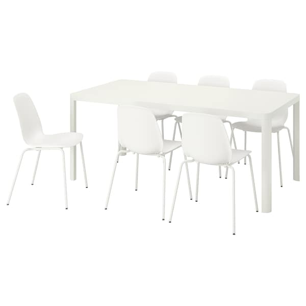 """TINGBY / LEIFARNE Table and 6 chairs, white/white, 70 7/8 """""""