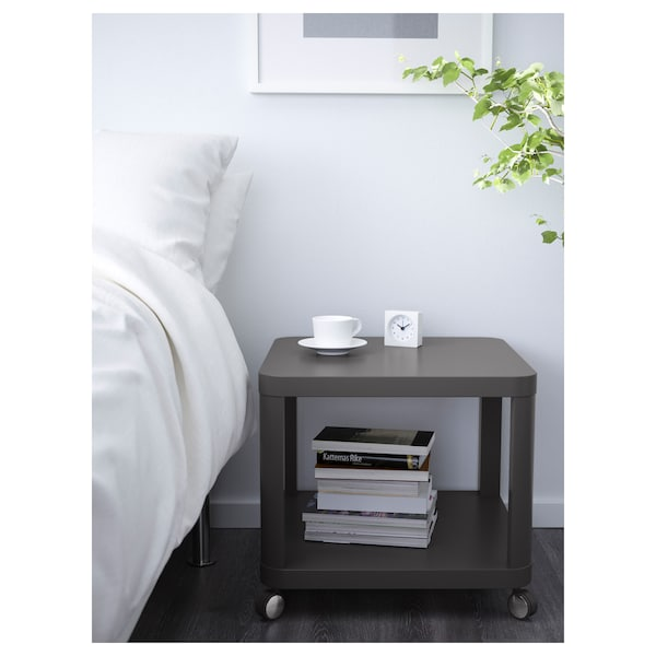 """TINGBY Side table on casters, gray, 19 5/8x19 5/8 """""""