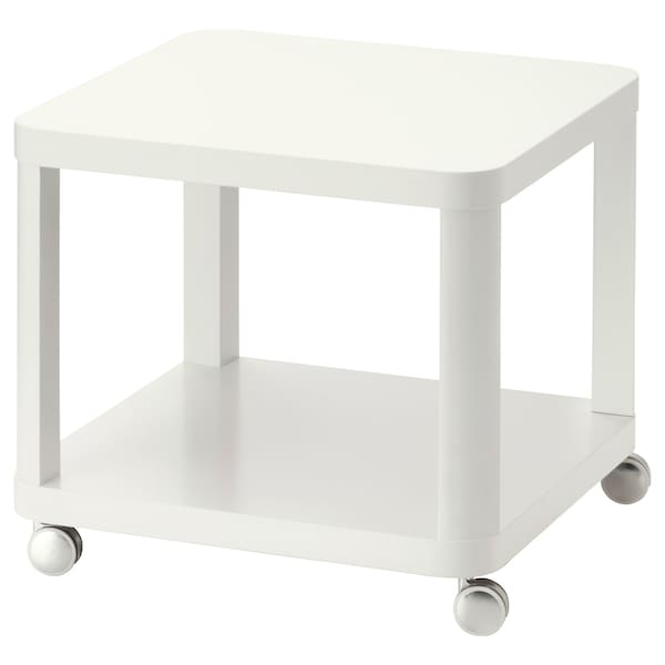 """TINGBY Side table on casters, white, 19 5/8x19 5/8 """""""