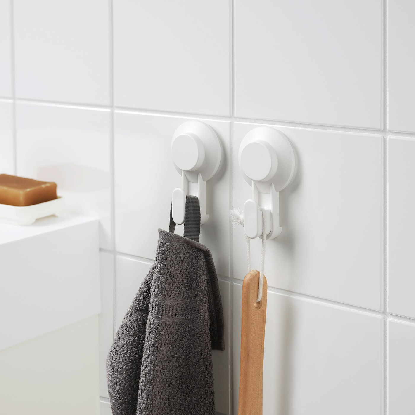 TISKEN Hook with suction cup - white