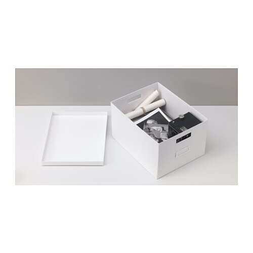 TJENA Box with lid IKEA Perfect for papers, photos or other memorabilia.  Easy to pull out and lift as the box is sturdy and has cut-out handles.
