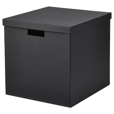 TJENA Storage box with lid, black, 12 ½x13 ¾x12 ½ ""