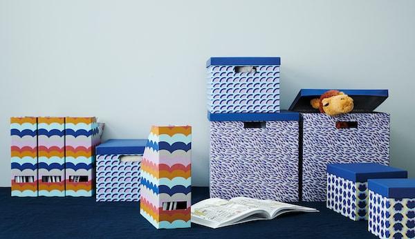 "TJENA Storage box with lid, blue/patterned, 7x9 ¾x6 """