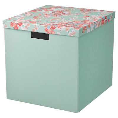 TJENA Storage box with lid, flower/light green, 12 ½x13 ¾x12 ½ ""