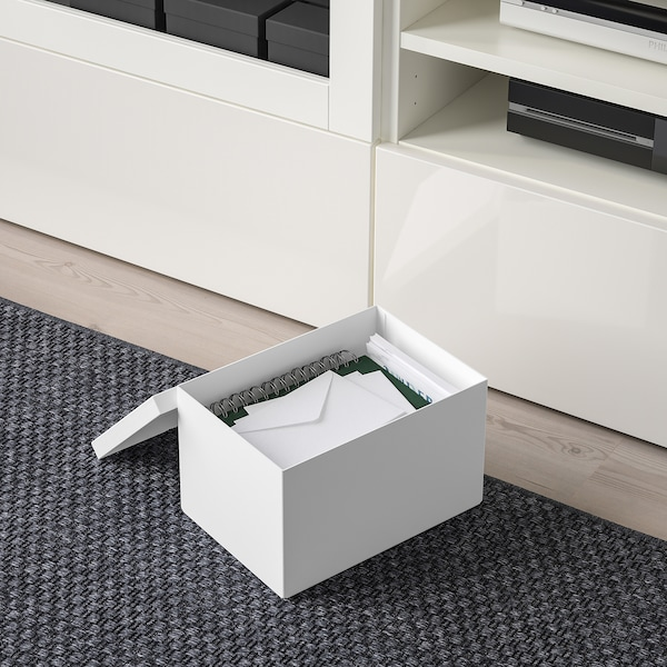 """TJENA storage box with lid white 9 ¾ """" 7 """" 6 """""""