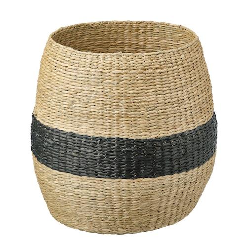 "TJILLEVIPS basket seagrass/black 15 ¾ "" 15 ¾ "" 7 7/8 """