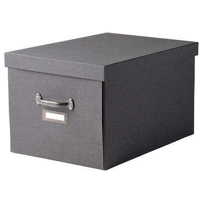 TJOG Storage box with lid, dark gray, 13 ¾x22x11 ¾ ""