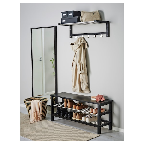 "TJUSIG Bench with shoe storage, black, 42 1/2x19 5/8 """