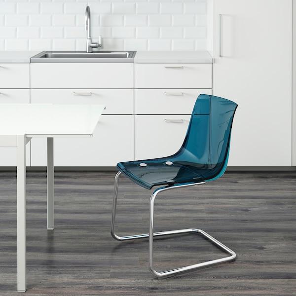 TOBIAS Chair, blue/chrome plated