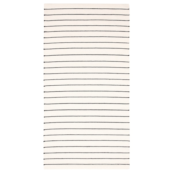 Rug Flatwoven Stripe White Black