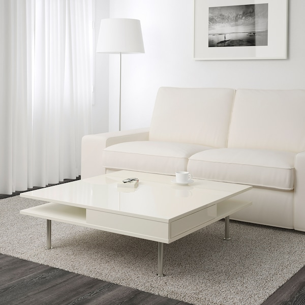 TOFTERYD Coffee table, high gloss white, 37 3/8x37 3/8 ""