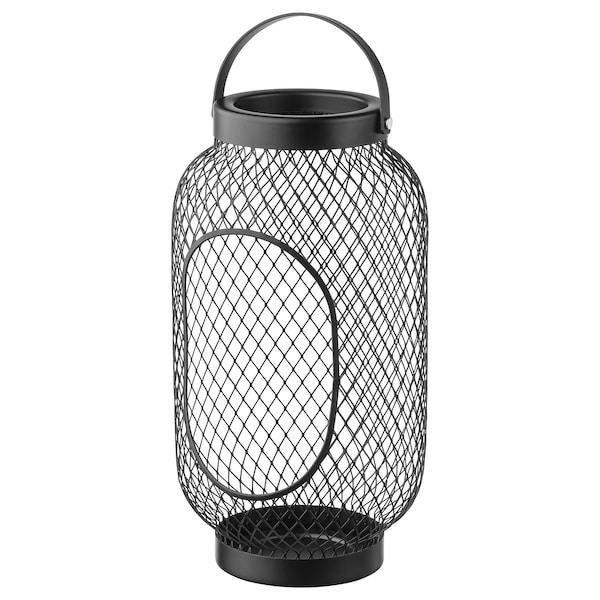 "TOPPIG Lantern for block candle, black, 14 ¼ """