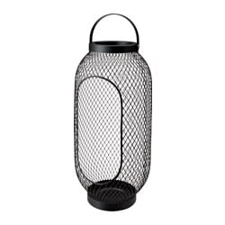 TOPPIG lantern for block candle, black