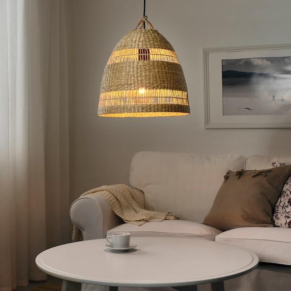 "TORARED Pendant lamp shade, sedge/handmade, 14 """