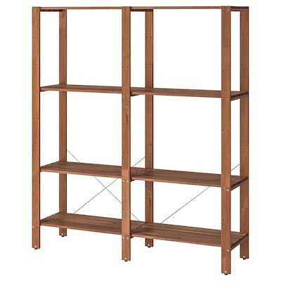 TORDH Shelving unit, outdoor, brown stained, 55 1/8x13 3/4x63 3/8 ""