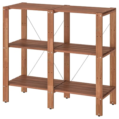 TORDH Shelving unit, outdoor, brown stained, 55 1/8x13 3/4x35 3/8 ""