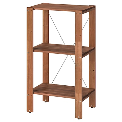 """TORDH Shelving unit, outdoor, brown stained, 19 5/8x13 3/4x35 3/8 """""""