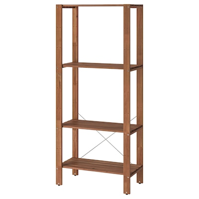 TORDH Shelving unit, outdoor, brown stained, 27 1/2x13 3/4x63 3/8 ""