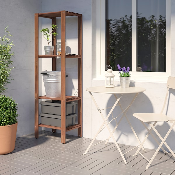 """TORDH Shelving unit, outdoor, brown stained, 19 5/8x13 3/4x63 3/8 """""""