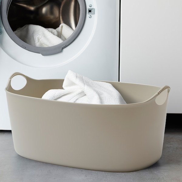 TORKIS Flexible laundry basket, in/outdoor, beige, 9 gallon