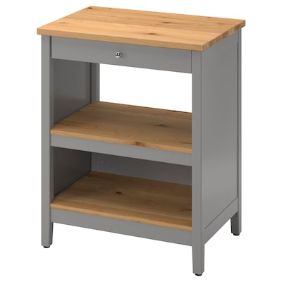 TORNVIKEN Kitchen island, gray/oak, 28 3/8x20 1/2 ""