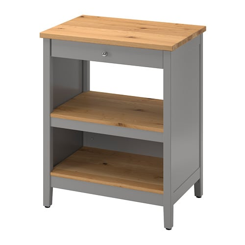 TORNVIKEN Kitchen island, gray, oak