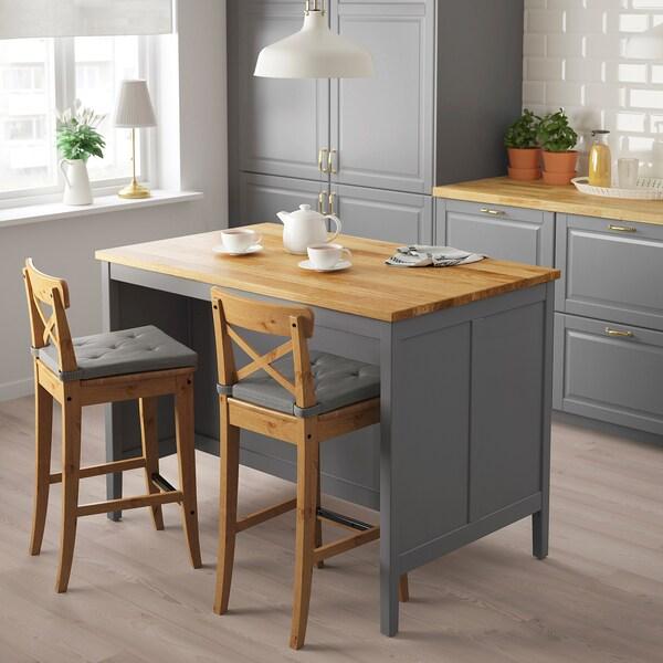 Kitchen island TORNVIKEN gray, oak