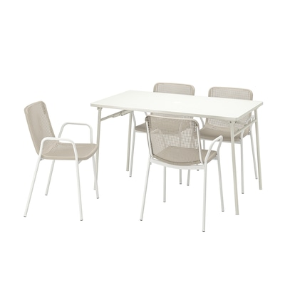 """TORPARÖ Table and 4 armchairs, outdoor, white/beige, 51 1/8 """""""
